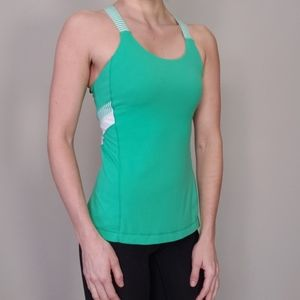 Lululemon Fitted Racerback Tank Top Green White